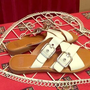 Sarto Franco sarto cream slip on sandal buckle 9.5